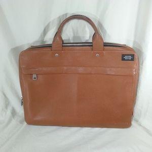 Jack Spade Mason leather slim briefcase brown